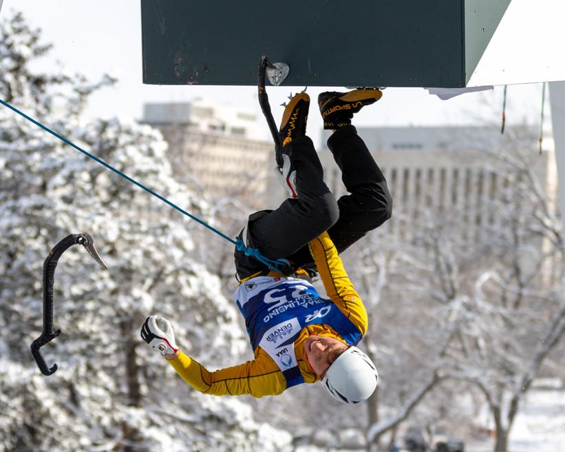 Nikolay Primerov (SUI), 2019 UIAA Ice Climbing World Cup, Denver, USA, Feb 23-24, 2019, Denver, Colo.