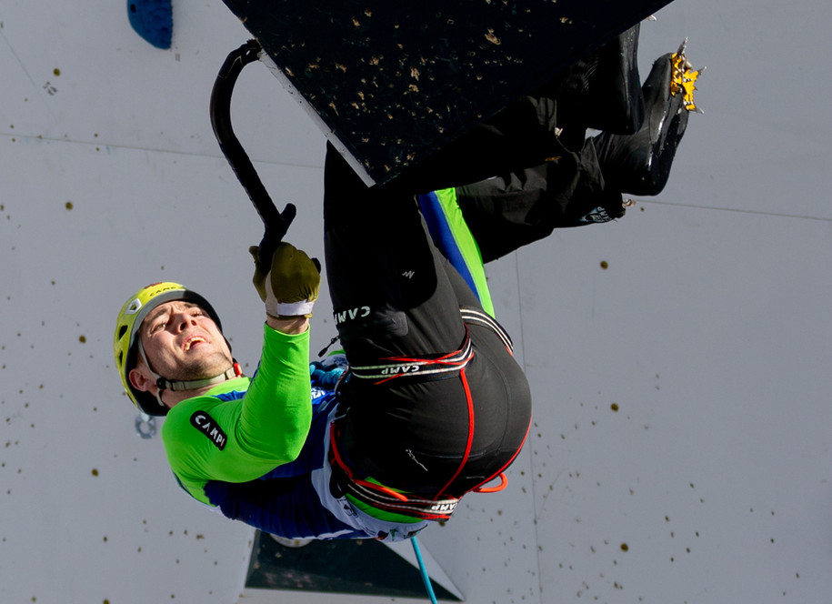 Dimitriy Grebennikov (RUS), 2019 UIAA Ice Climbing World Cup, Denver, USA, Feb 23-24, 2019, Denver, Colo.