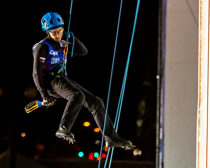 Maria Tolokonina (RUS), 2019 UIAA Ice Climbing World Cup, Denver, USA, Feb 23-24, 2019, Denver, Colo.