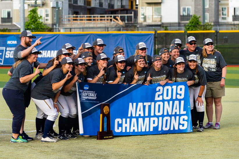 Augustana (SD) Celebration of winning 2019 NCAA Softball D2 Championship