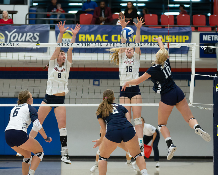 Photo of MSU Denver Volleyball versus Colorado School of Mines during RMAC Final
