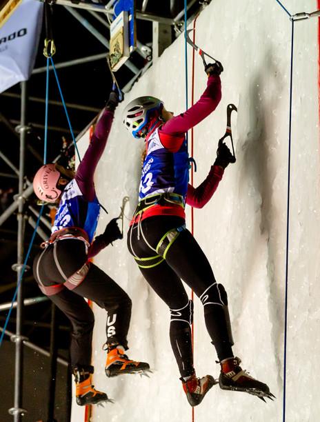 Angela Limbach (USA), left,  and Olga Kosek (POL), right, 2019 UIAA Ice Climbing World Cup, Denver, USA, Feb 23-24, 2019
