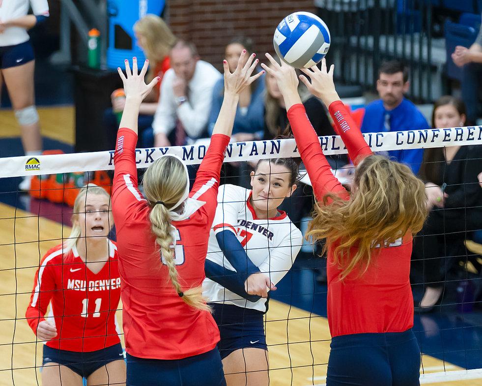 Photos of MSU Denver Volleyball Versus Dixie State RMAC Semifinals Regis Fieldhouse, Denver, Colo. Friday, November 22, 2019