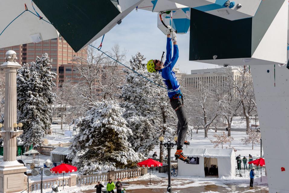 Wesley Fowler (USA), 2019 UIAA Ice Climbing World Cup, Denver, USA, Feb 23-24, 2019, Denver, Colo.