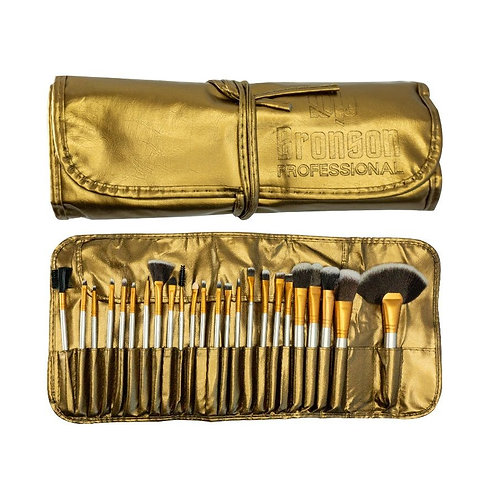Bronson Professional Makeup Brush Set of 24 Brushes With Luxury Leather Storage