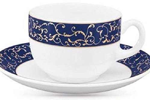 LaOpala Diva Sovrana Anassa Glass Cup and Saucer (Blue-White) Set of 6 -12 Pcs
