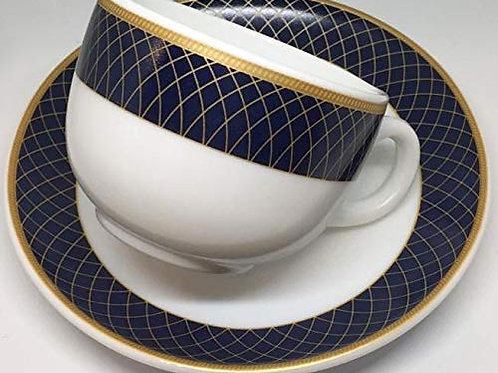LaOpala Glass Diva Sovrana Regent Blue Cup and Saucer (White, 12 Pieces)