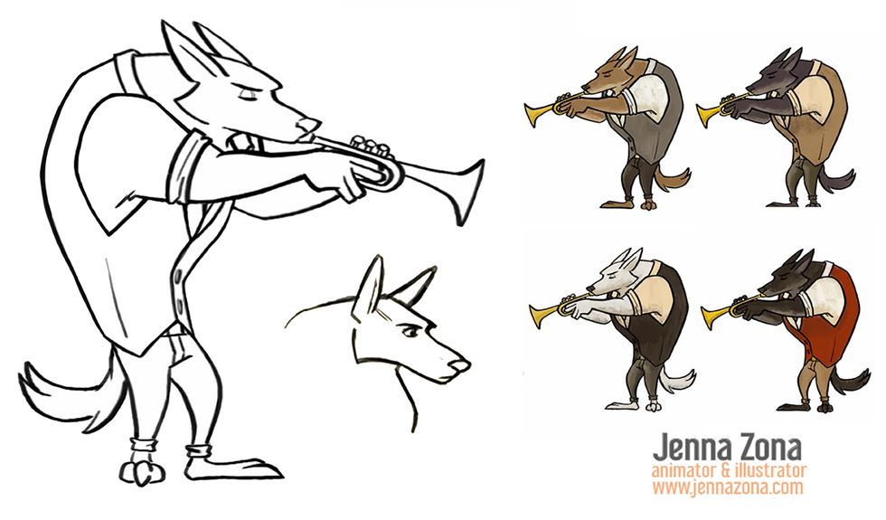 Musical Wolf: Character and color concept