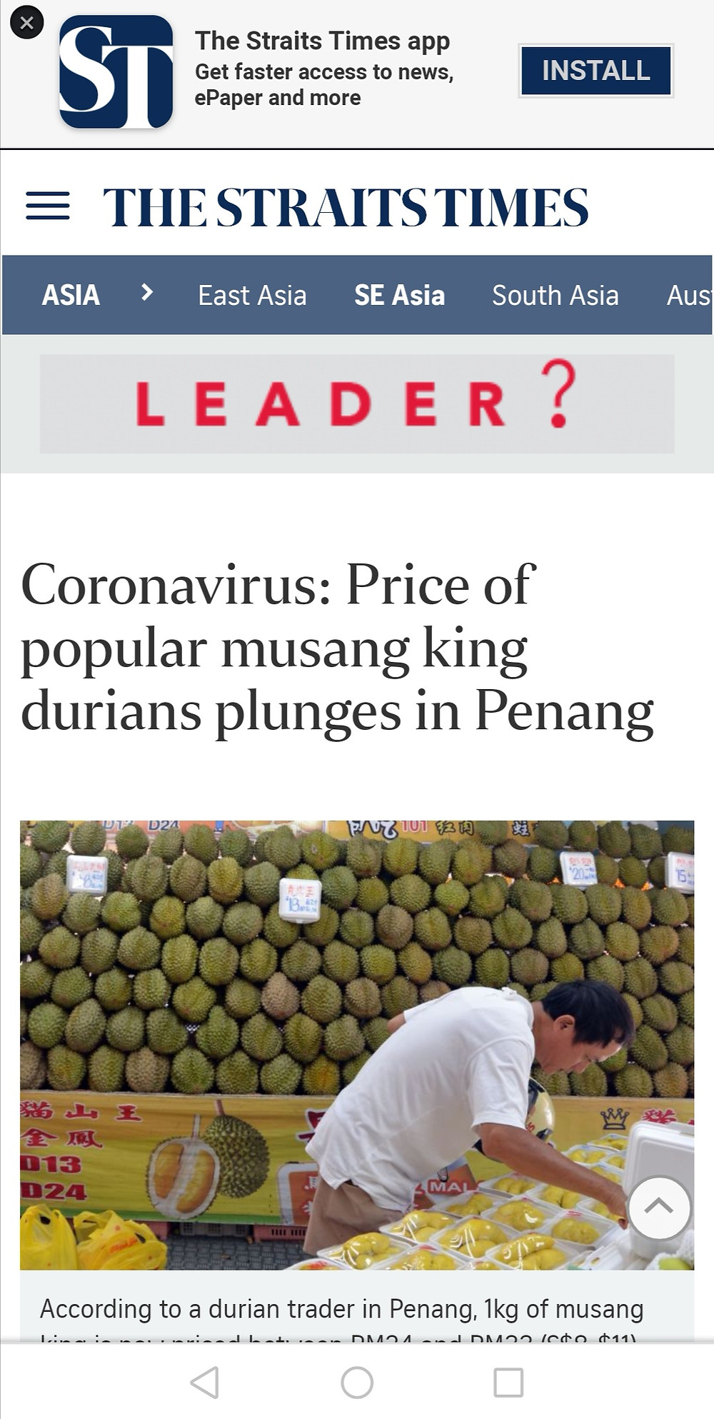 News article about durian price