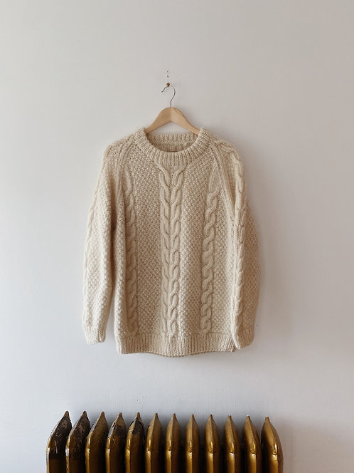 Cream Wool Cable Knit Sweater | L