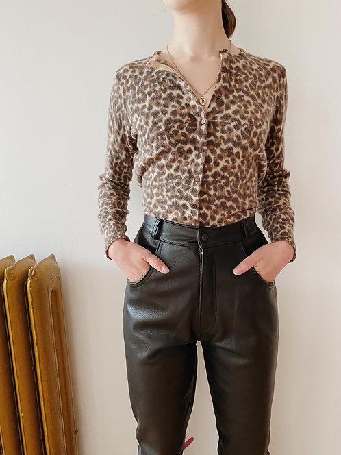 Wool & Angora Leopard Print Cardigan | S
