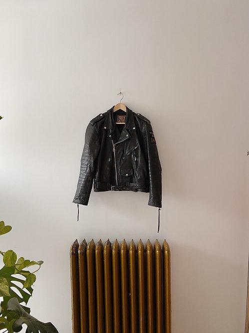 Black Leather Motorcycle Jacket   M