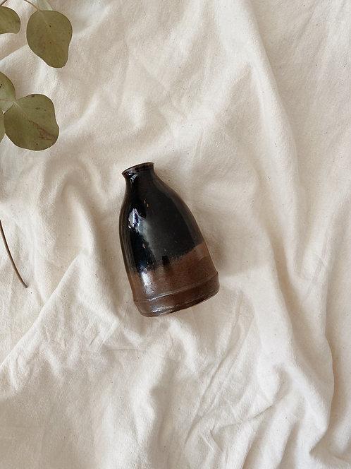 Black and Metallic Bronze Ceramic Bud Vase
