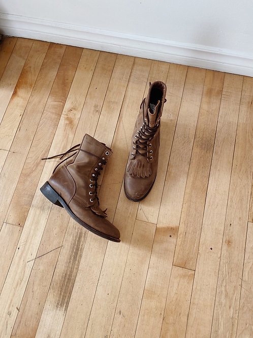 Brown Leather Roper Boots | 5.5/6