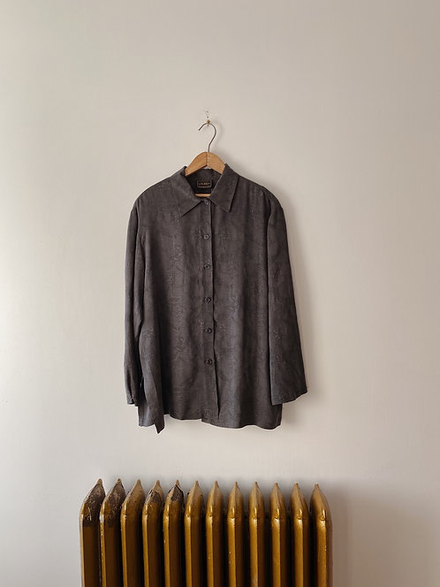 Slate Grey Paisley Button Up | XL