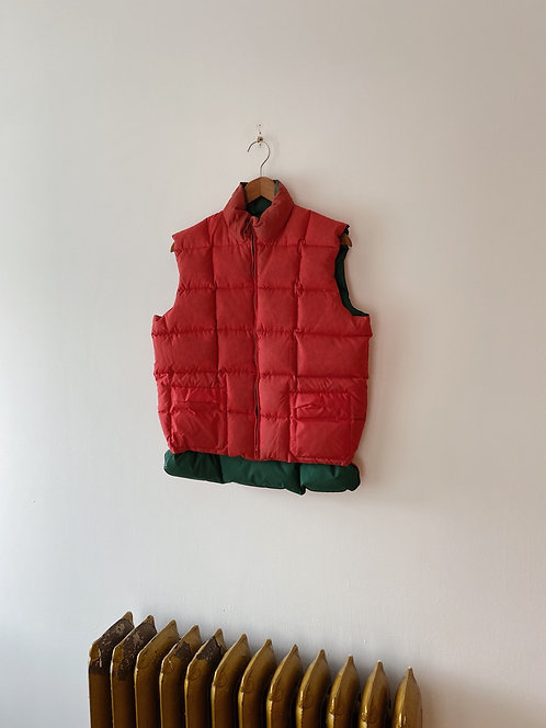 Reversible Red & Green Down Vest | S