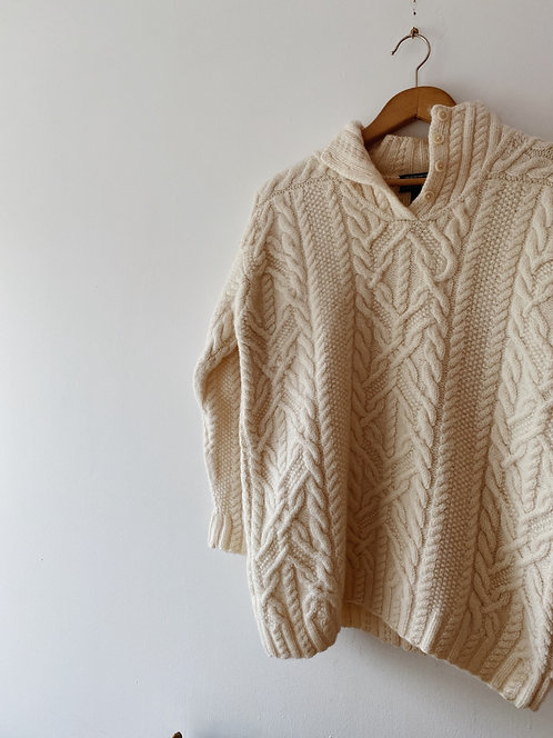 Cream Cable Knit Ralph Lauren Sweater | M/L
