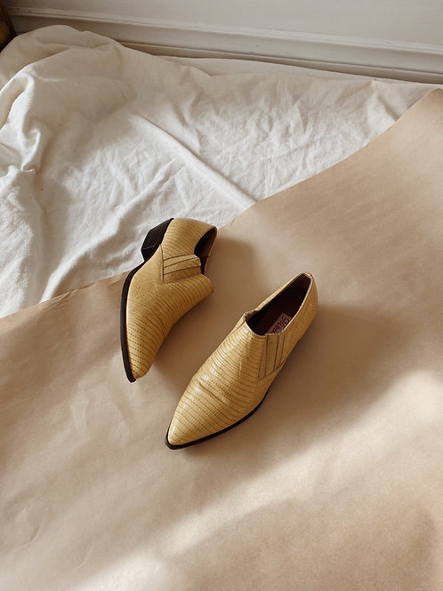 Yellow Leather Western Ankle Boots   6