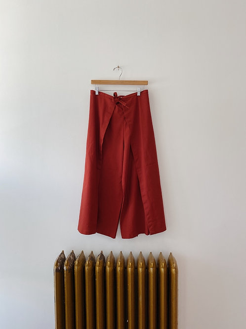 Rust Linen Cub Wrap Pants