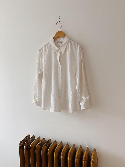 White Cotton & Linen Blouse   M
