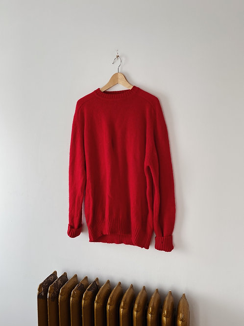 Red Wool Knit Sweater | XL