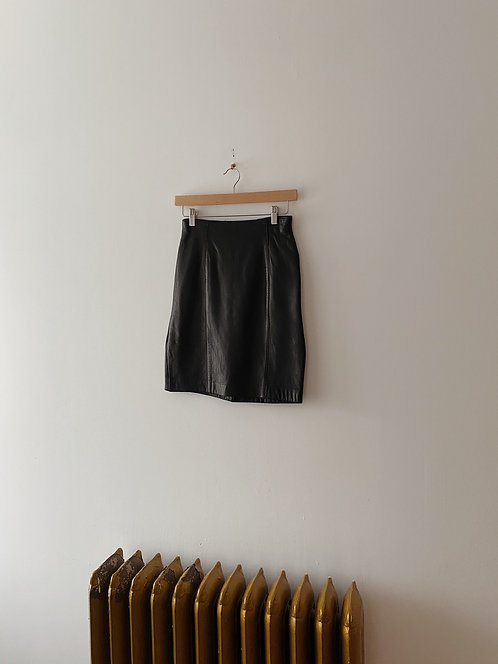 Buttery Soft Black Leather Skirt | 26