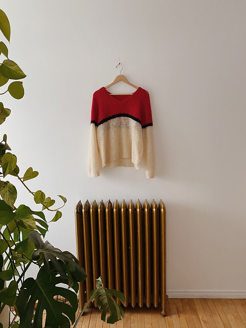 Tricoloured Wool Sweater | L