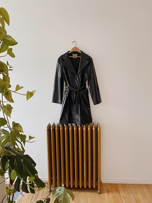 Black Faux Leather Trench | M/L