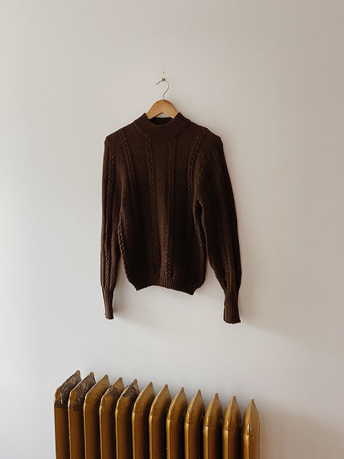 Brown Cable Knit Sweater | S