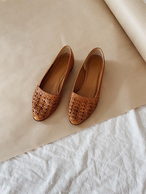 Tan Woven Leather Flats | 6