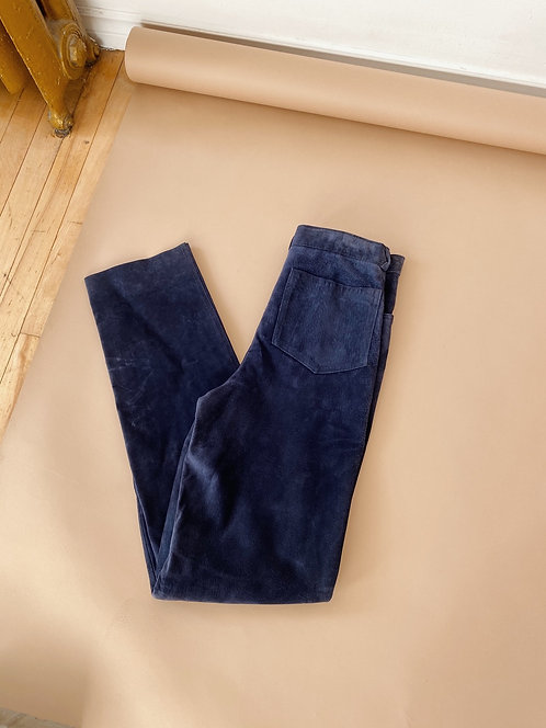 Midnight Blue Suede Pants | 27