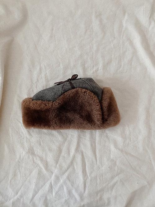 Grey Wool Shearling Hat