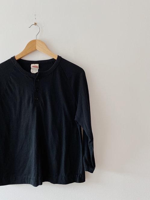 Black Henley 3/4 Sleeve   S