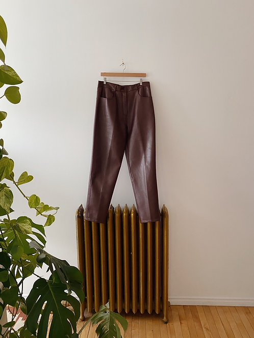 Burgundy Faux Leather Pants | 34