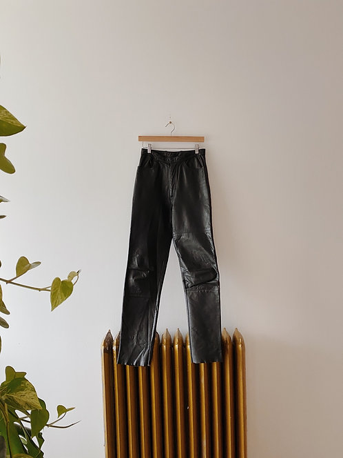Black Leather Trousers | 28