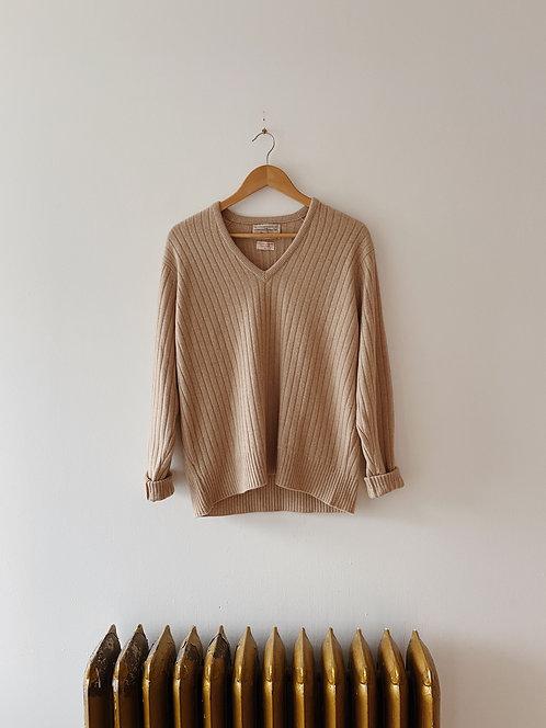 Sand Cashmere V-Neck Sweater   L