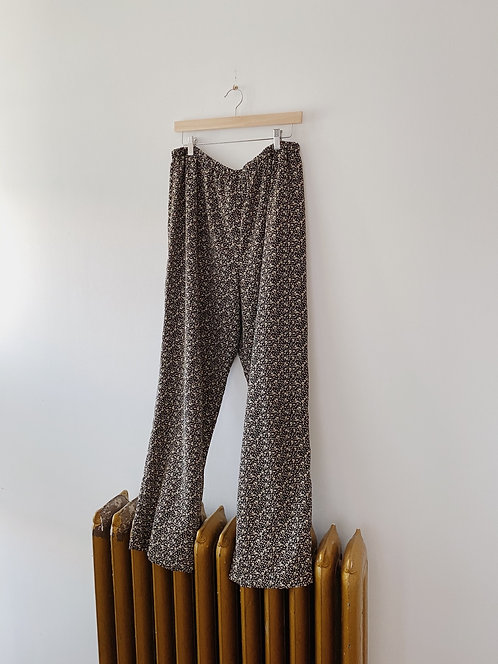 Black Floral Easy Pants | XL