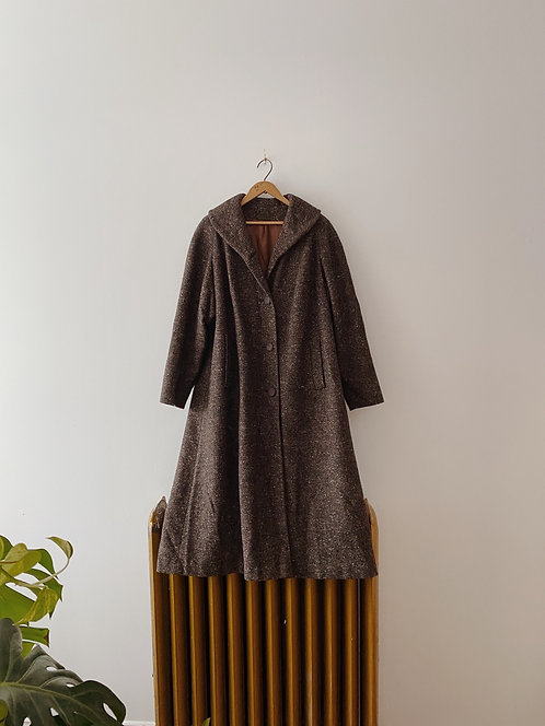 Chocolate Speckled Wool Coat | L