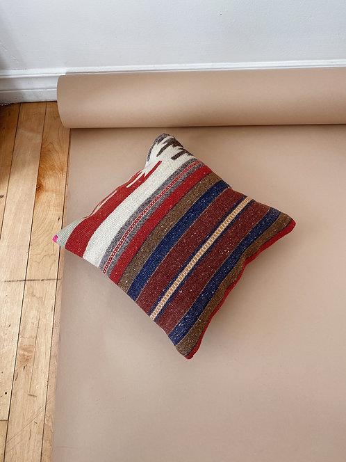 Striped Wool Kilim Pillow   12 x 12