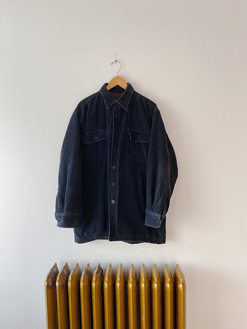Navy Quilted Corduroy Button Up | XL