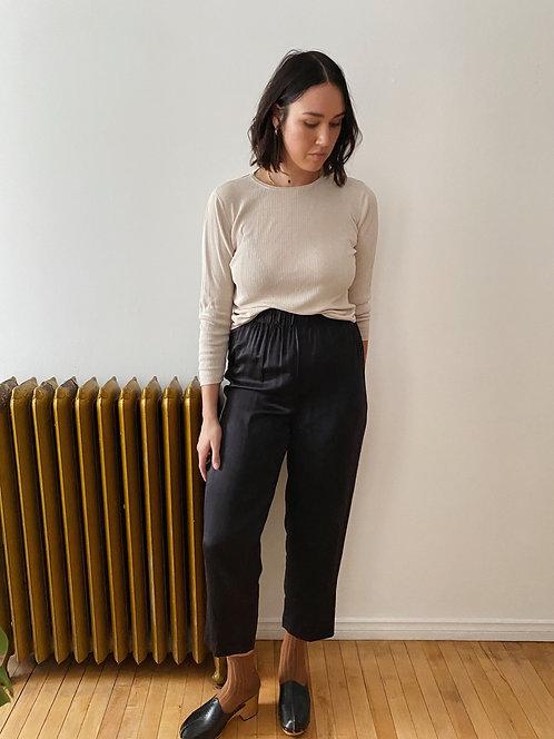 Black Silk Pants | L