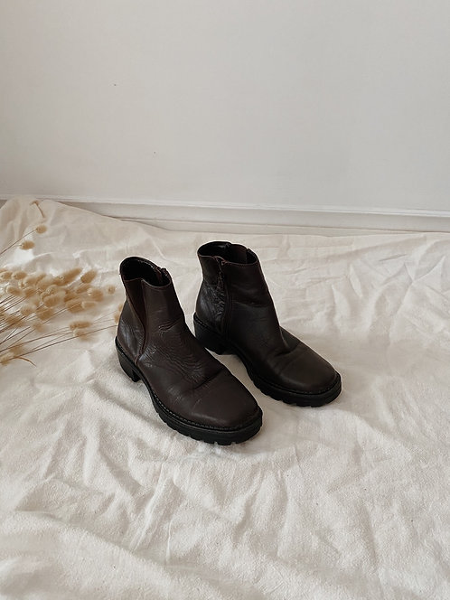 Brown Leather Ankle Boot | 6