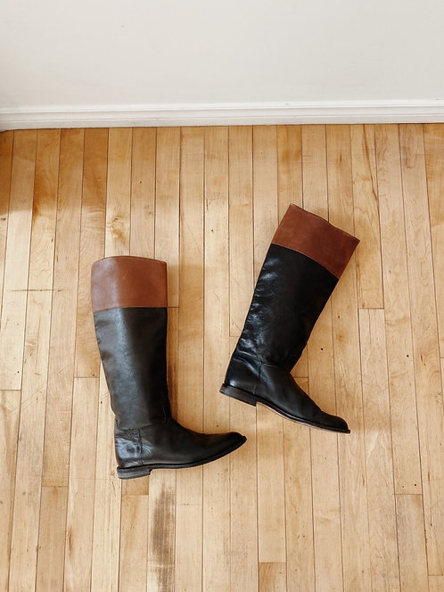 Chestnut and Black leather Knee High Boots | 9