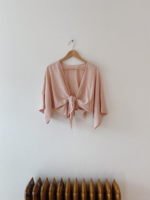 Rose Pink Linen Cub Wrap Top
