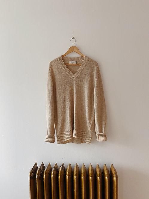 Oatmeal Wool V-Neck Sweater | L