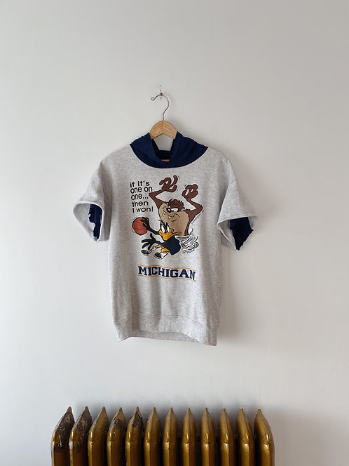 Looney Tunes Hooded Short Sleeve Sweatshirt | L