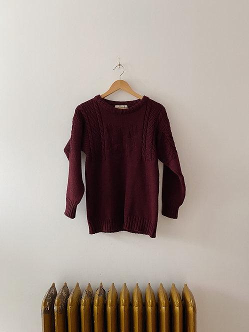 Burgundy Knit Sweater | M