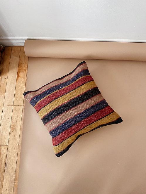 Mustard & Navy Striped Wool Kilim Pillow   15 x 15