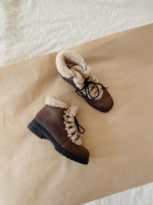 Brown Shearling Leather Hiking Boot   7