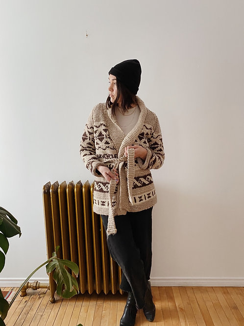 Cowichan Knit Wool Sweater   M/L